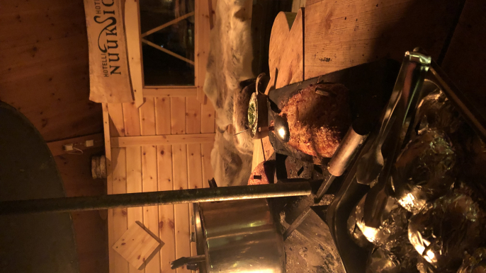 Blazed salmon in a Lapland style hut for Hotelli Nuuksio
