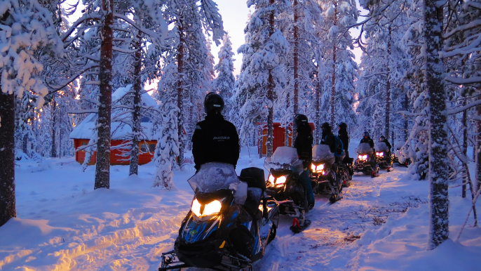 Sunrise Safari to Hillside by Electric Snowmobiles for Aurora eMotion